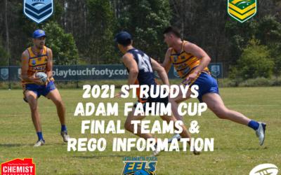 2021 Struddys Adam Fahim Cup Teams and Rego Information